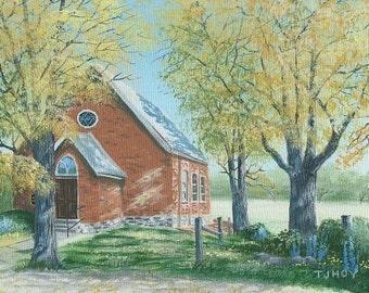 Country Church In the Autumn 8 x 10 ORIGINAL Thomas Justin Hoy
