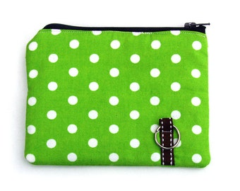 coin purse, padded in lime dots - SALE