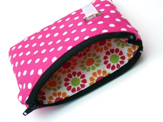 Coin purse , pouch, in pink polka dots - SALE