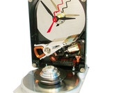 Upcycled Hard Drive Now a Clock, Accented with Disk Spindle Assembly.
