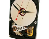Unusual Hard Drive Clock with Magnet Stand and Disk Platter as the Dial.