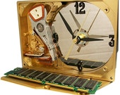 Metallic Gold Painted Hard Drive Clock accented with RAM Memory Circuit Board.