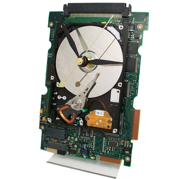 Laptop Hard Drive displayed on a Circuit Board Clock, Great Geek Gift.