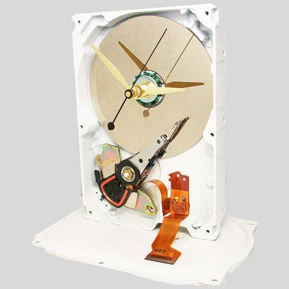 Gloss White Painted Computer Hard Drive Clock. White Chocolate Edition. (H)