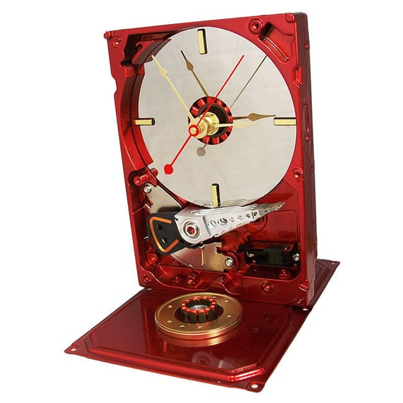 Metallic Red Computer Hard Drive Clock accented with Computer Parts.