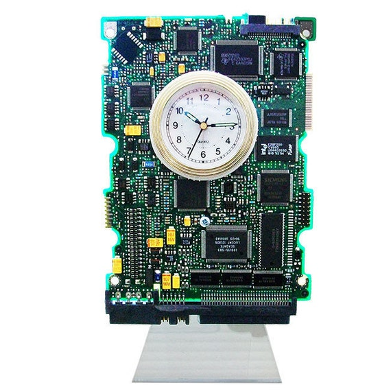 Circuit Board Clock with Alarm from a Recycled Computer Hard Drive Contoller Board. (H)