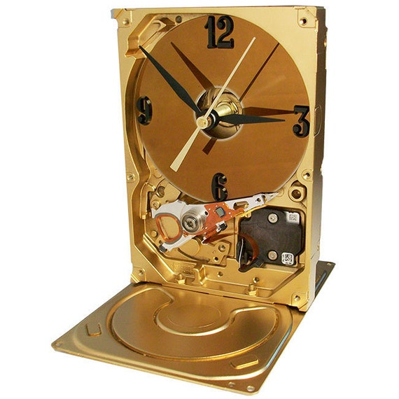 Go for the GOLD. Metallic Gold Hard Drive Clock. Sleek, Modern Clock.