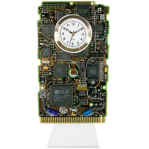 vintage circuit board clock from rare ibm hard drive by