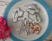 Lot of Five Vintage Tin Cookie Cutters