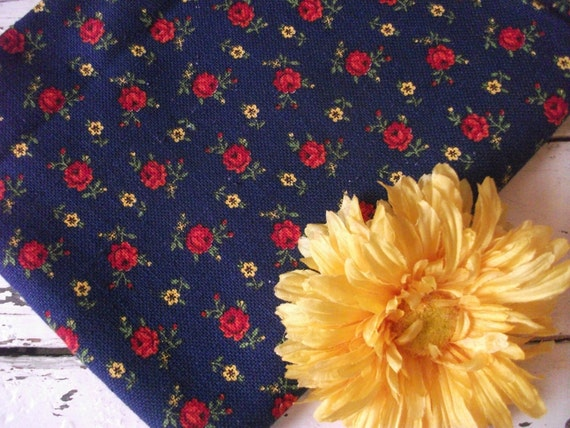 Vintage Navy Woven Fabric With Red Roses Throughout