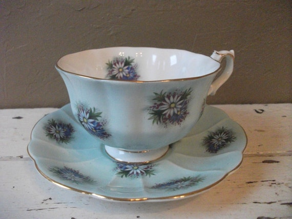 SALE - Vintage Royal Albert Teacup and Saucer - Blue Annabelle Pattern