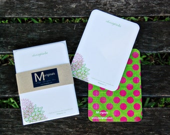 Personalized w/ Bible Verse Notecards - Set of 8 - Pink & Green Flowers