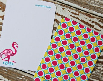 Personalized Note Cards - Flamingo
