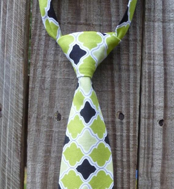Boy Necktie - Infant/Toddler/Child - Green & Black Tile - LIMITED