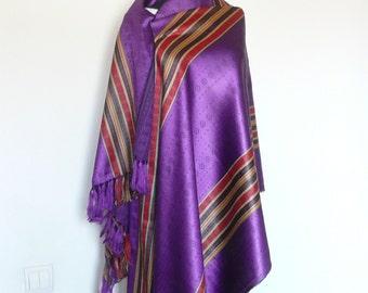 Traditional Woven Purple Large Shawl