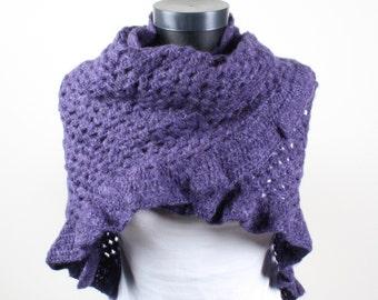 Purple, Crochet, Triangle Shawl