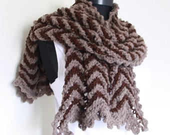 Knitting Brown Shawl ,Perfect for winter,scarf