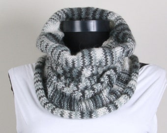 Gray white, mohair neckwarm, collar scarf
