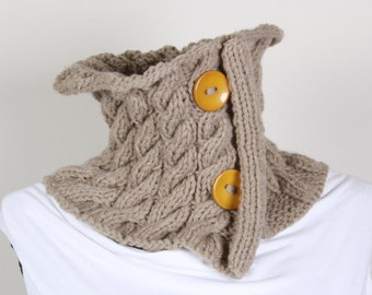 Button Neckwarmer  ,Yellow buttons  ,Khaki , collar scarf ,cowl