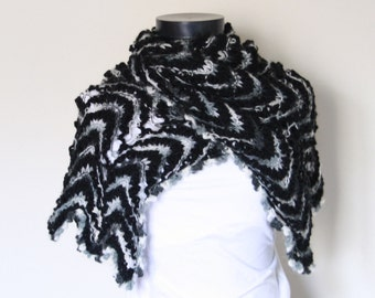 Gray Black White Shawl,Perfect for winter,