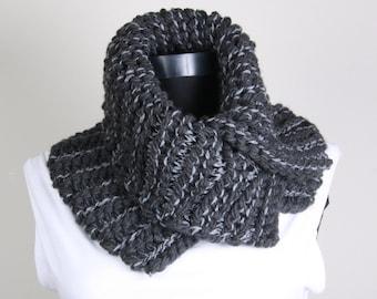 Cowl Neckwarmer ,Hand knit ,Gray, buttons, Collar Scarf
