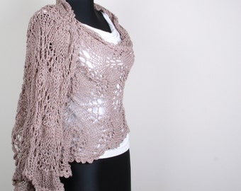 Knitting Shawl, powder ,skin color ,Stole ,Perfect for Spring Summer,