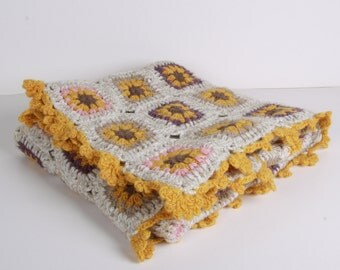Baby Blanket, crochet, Hand Crocheted Baby Blanket, great for spring and summer babies