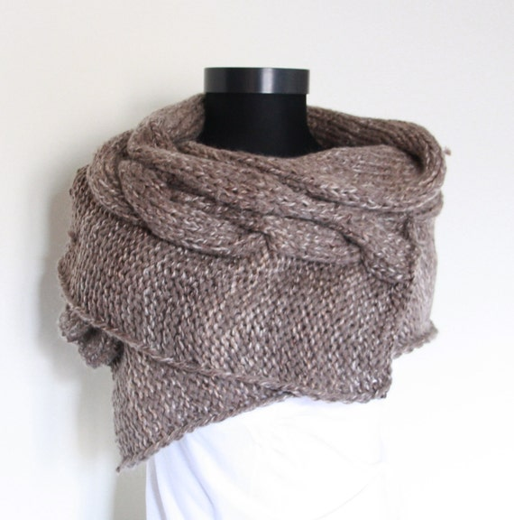 Knit Brown ,Shawl,Perfect for winter,