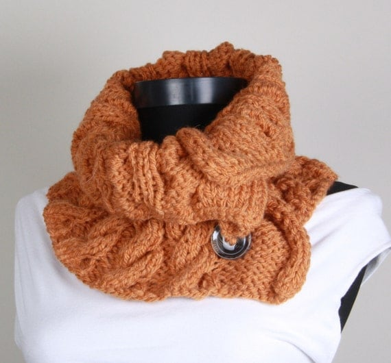 Knitting Neckwarmer ,Orange,  buttons , collar scarf, Button Neckwarmer