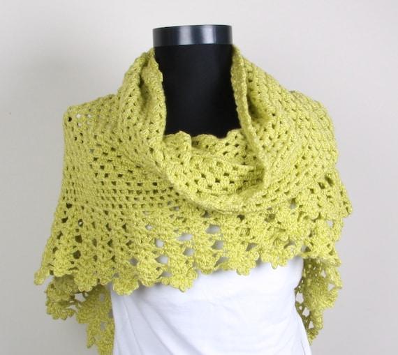 Green Summer Shawl , Crochet, Triangle Shawl