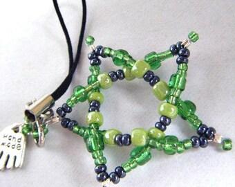 Pentagram KEYRING. Big Green Beaded Star Cell Phone Dangle / Zipper Pull / Hand Bag Charm / Key Charm, Handmade in Ireland, Clearance Sale