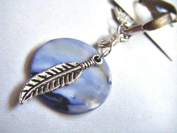 Blue Moon. Shell and Silver Feather HANDBAG CHARM, ooak.ie