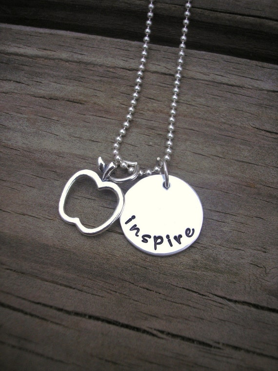 Hand Stamped Sterling Silver 'inspire' Teacher's Necklace