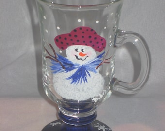 HAND PAINTED COFFEE MUGS \/ GLASSES WITH SNOWMEN