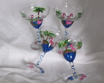 Hand Painted Margarita Glasses with Flamingos NEW