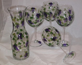 Hand Painted Wine Glasses with Carafe set of four