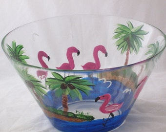 Hand Painted Serving Bowl with Flamingos