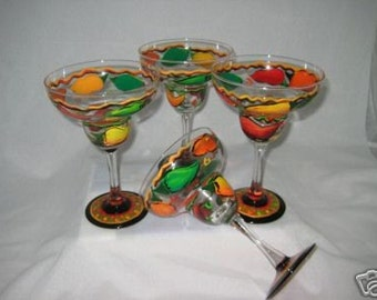 Hand Painted Margarita Glasses with Vibrant Chili Peppers set of 4