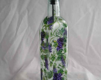 Hand Painted OIL BOTTLE with GRAPES