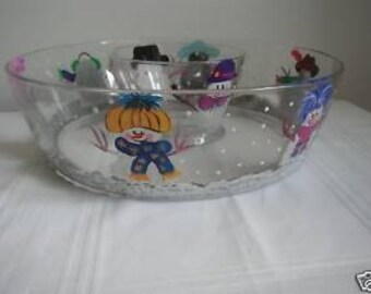 and Painted Glass Chip And Dip Bowl With Snowmen X-MAS
