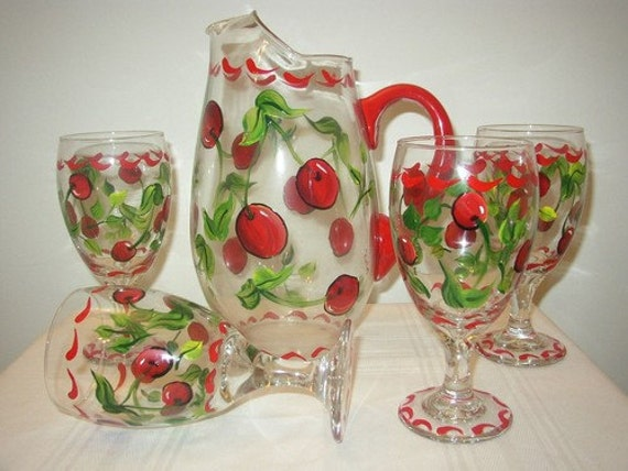 Hand Painted Goblets / Ice tea Glasses and Pitcher with Cherries