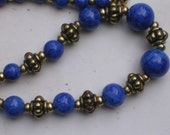 Vintage Faux Lapis Necklace with Brass