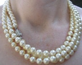 Vintage Pearl Rope with Rhinestone Barrel Clasp 1950sON SALE