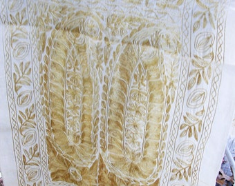 Victorian Gold Embroidered Dresser Scarve