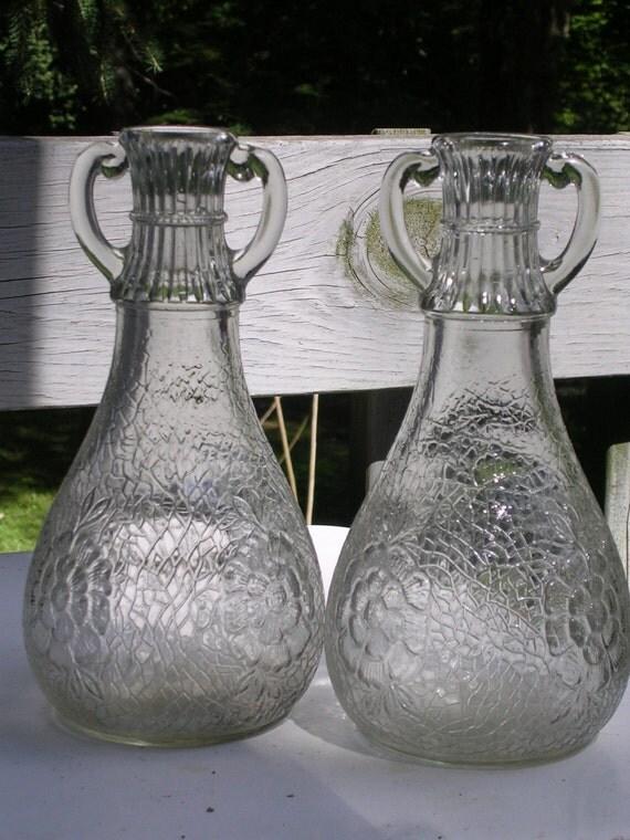 Vintage Crackle Glass Carafe Vase Pair Two-Handled