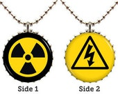 Hazard Necklace - Design Pair A - Science Lab Warning Sign Double Sided Pendant