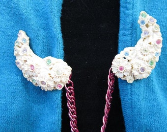 Spring Flower Sweater Clip- Upcycled