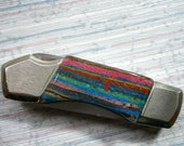 David Yellowhorse steel with Rainbow Calsilica Lockback Pocket Knife