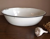 Vintage White Enamelware Oval Wash Tub