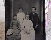 SALE Antique Tintype Happy Family Doe Portrait